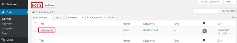 default WordPress Post